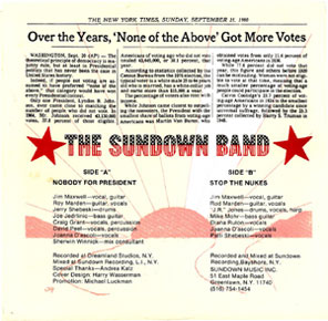 Nobody for President by Jim Maxwell and  The Sundown Band, 45 back jacket.