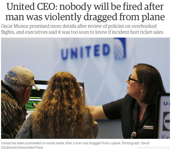 Nobody will be fired ~ United Airlines afer UA employee beats up doctor on plane